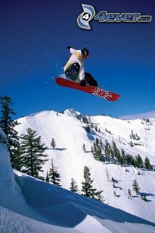 snowboard, nature, mountains