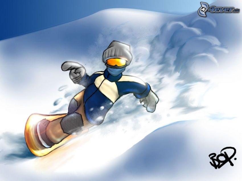 snowboard, snow
