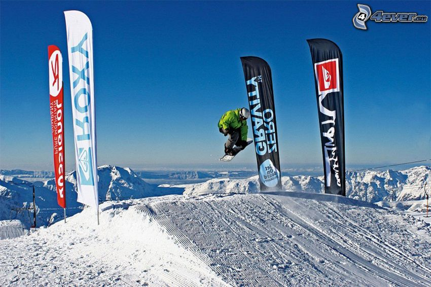 snowboard jump, flags, acrobatics, snowy mountains