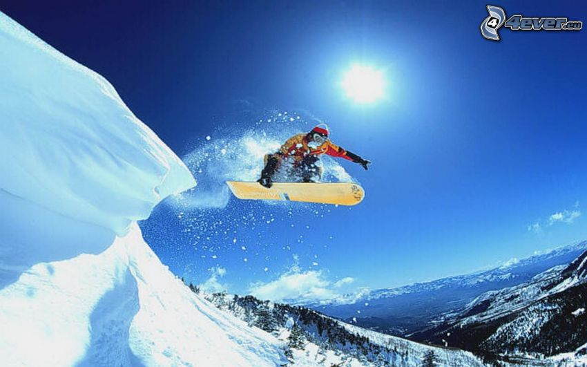 snowboard jump, mountains, snow, sun
