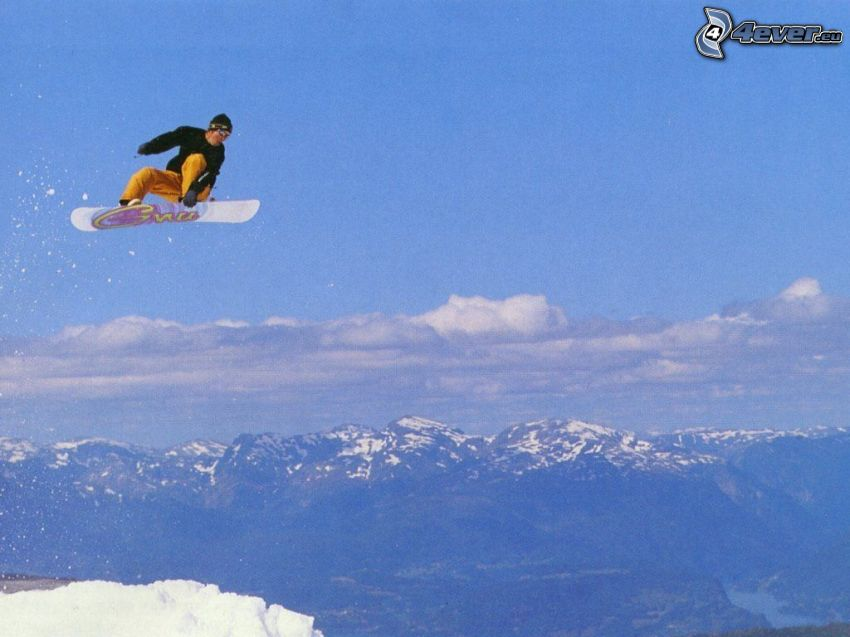 snowboard jump, mountains, snow
