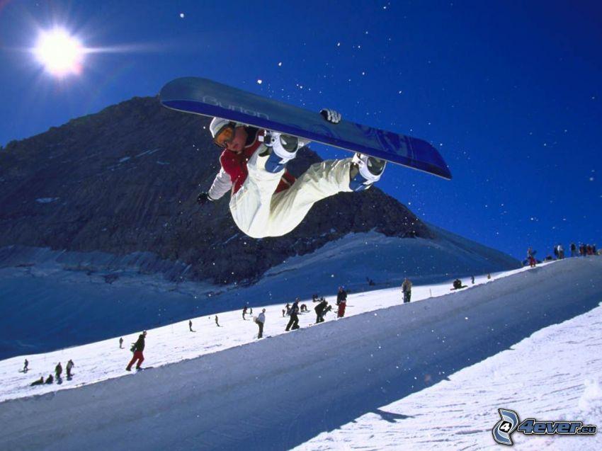 snowboard jump, ski slope, sun