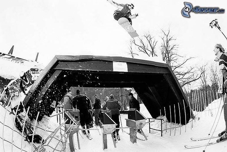 snowboard jump, skiers