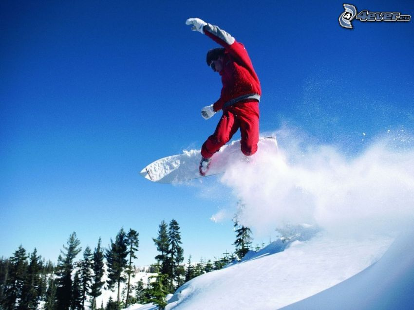 snowboard jump, snow, forest, acrobatics