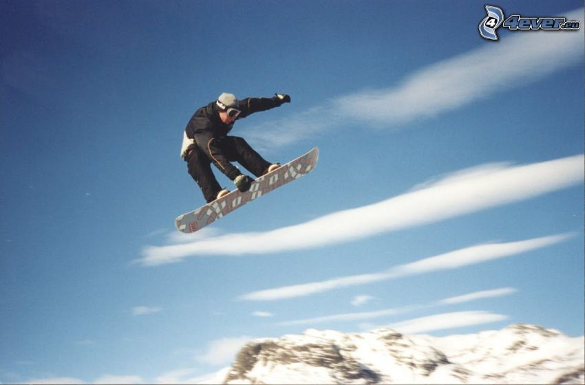 snowboard jump, snow, sky, mountains