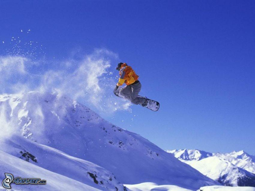 snowboard jump, snowboarder, snow