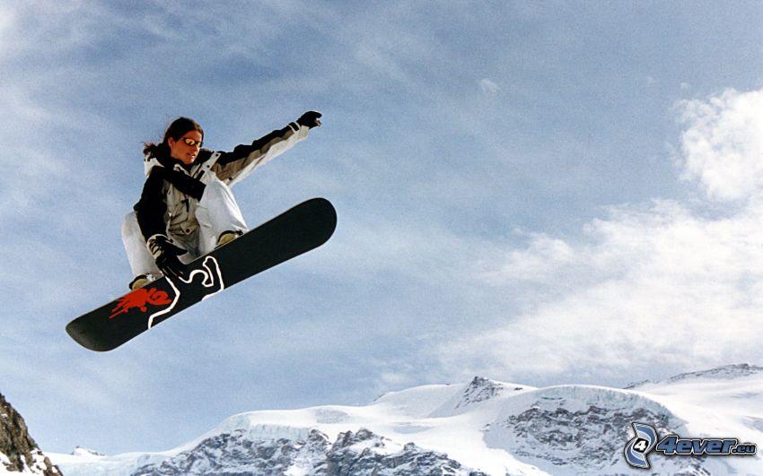 snowboard jump, snowy hills