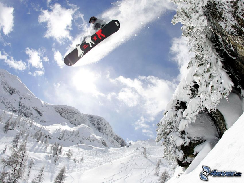 snowboard jump, snowy mountains, coniferous trees