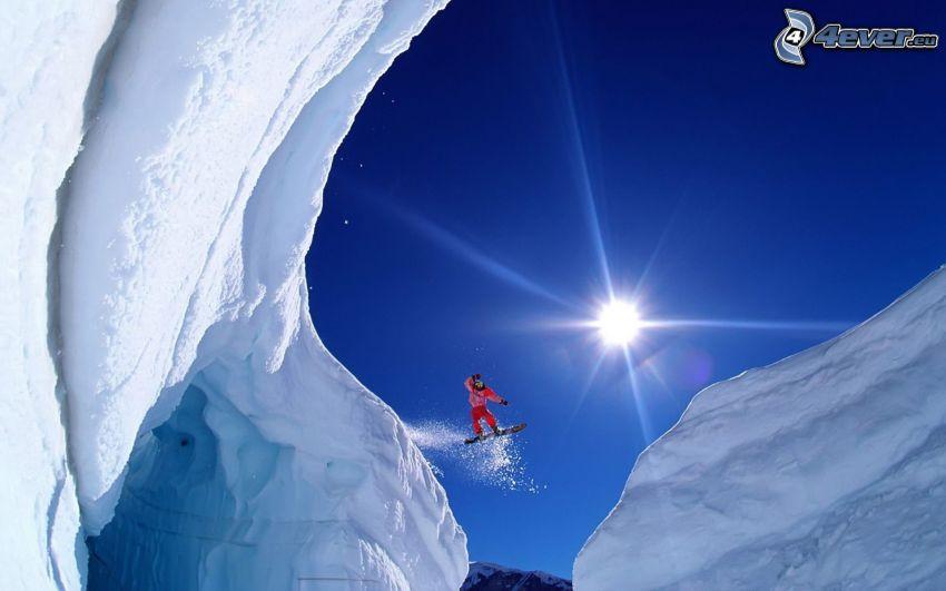 snowboarder, cliff, snow, sun