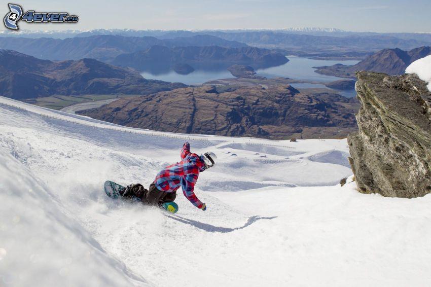 snowboarding, hills, lake
