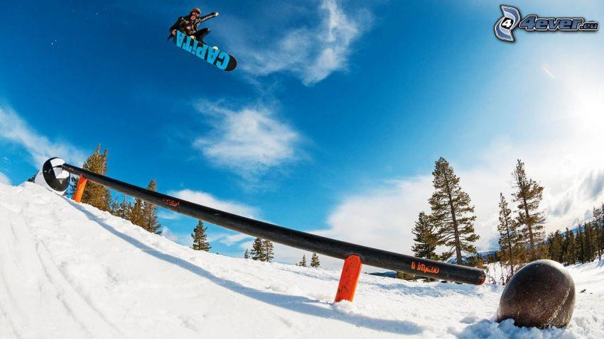 snowboarding, jump, railing