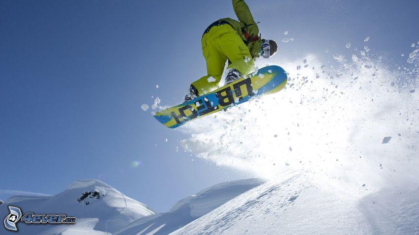 snowboarding, jump, snow