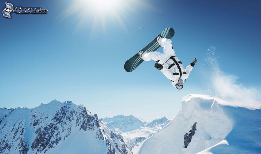 snowboarding, jump, snowy hills, sun