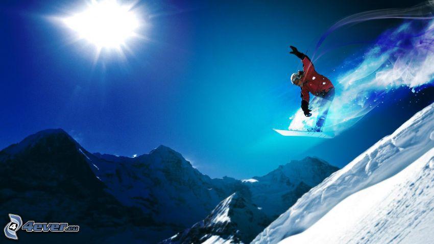 snowboarding, jump, snowy mountains, sun