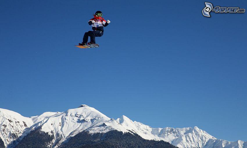 snowboarding, jump, snowy mountains