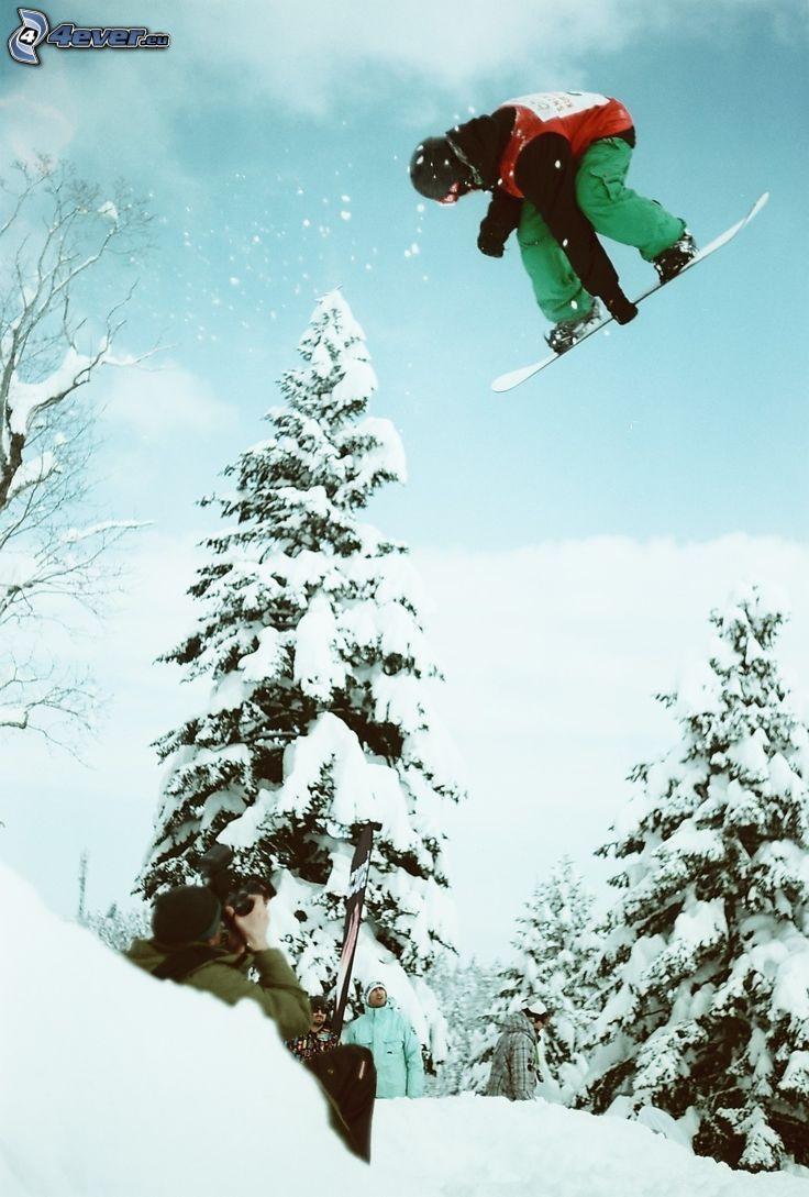 snowboarding, jump, snowy trees, photographer