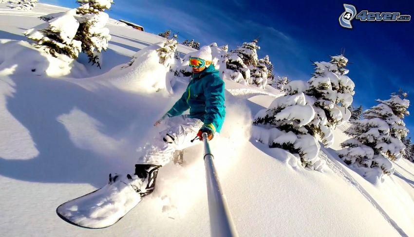 snowboarding, snowy landscape
