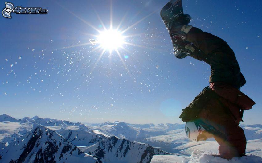 snowboarding, snowy mountains, sun