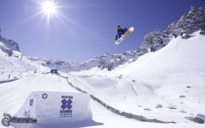 snowboarding, sun, jump
