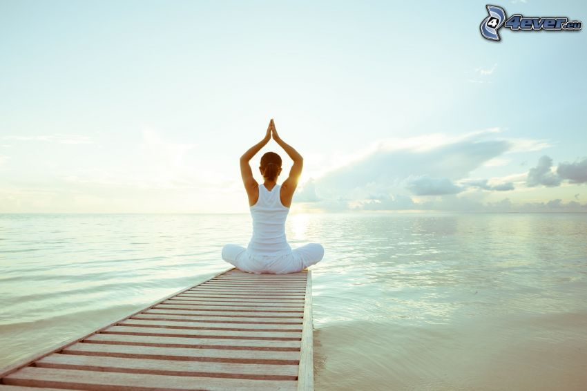 yoga, meditation, turkish sit, open sea, wooden pier