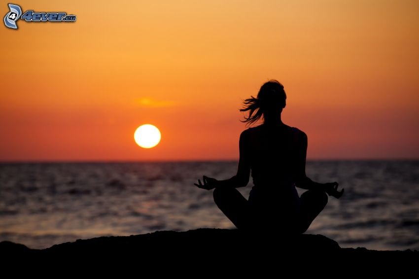 yoga, meditation, turkish sit, sunset over the sea