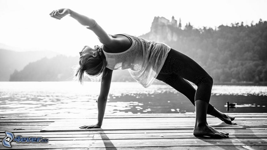 yoga, warming up, pier, lake, black and white photo