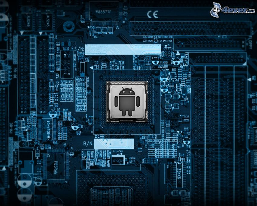 Android, logo, processor, motherboard