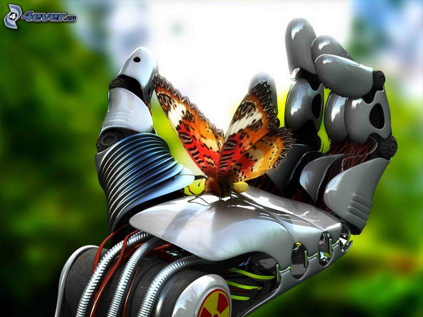 butterfly, mechanical hand, robot