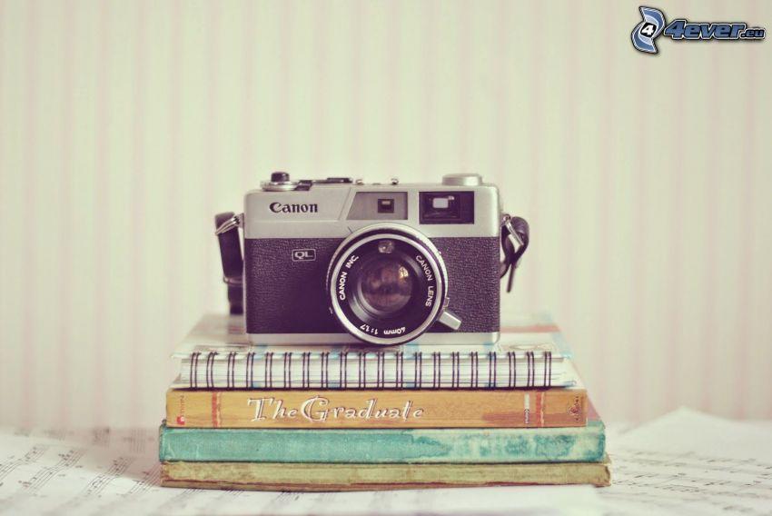 camera, books