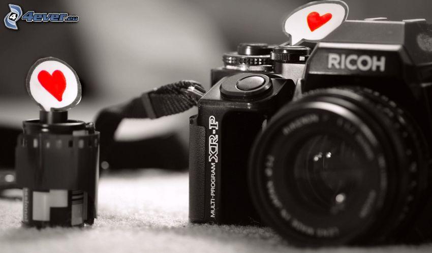 camera, red hearts