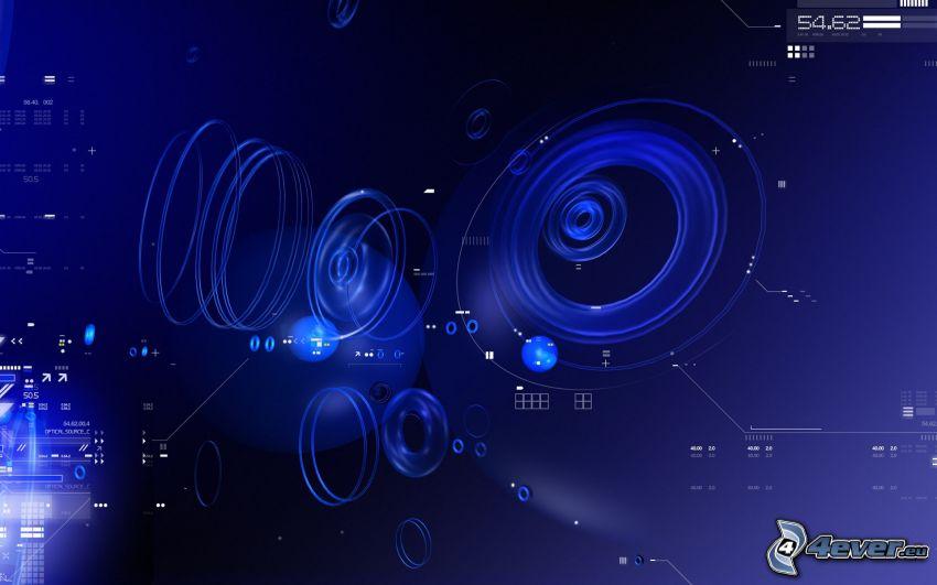 circles, blue background