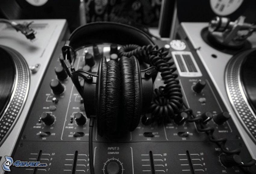 headphones, DJ console, black and white photo