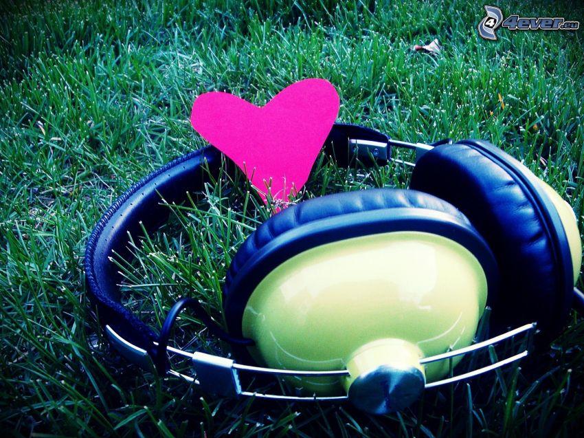 headphones, grass, heart