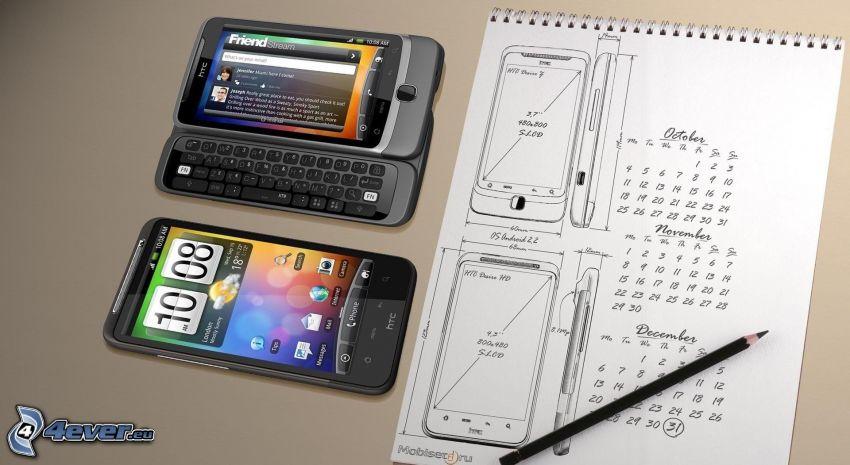 HTC, phone, calendar, pencil