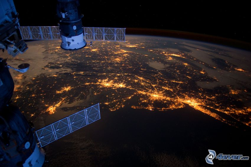 International Space Station ISS, Earth from ISS, Soyuz, night city