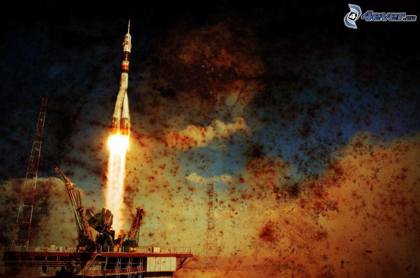 launch of rocket, rocket