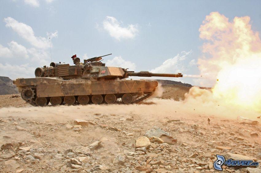 M1 Abrams, tank, shot