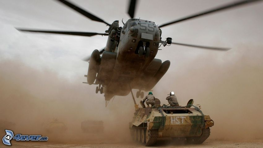 military helicopter, tank