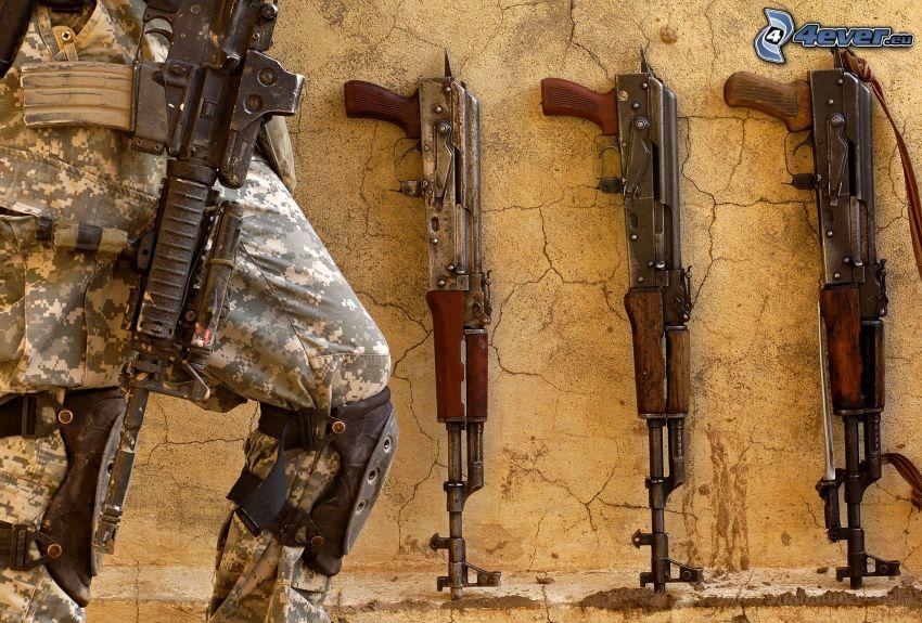 soldier with a gun, AK-47, Kalashnikov, weapons