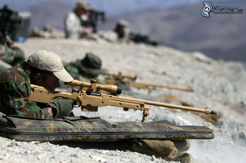 soldiers, soldier with a gun, sniper