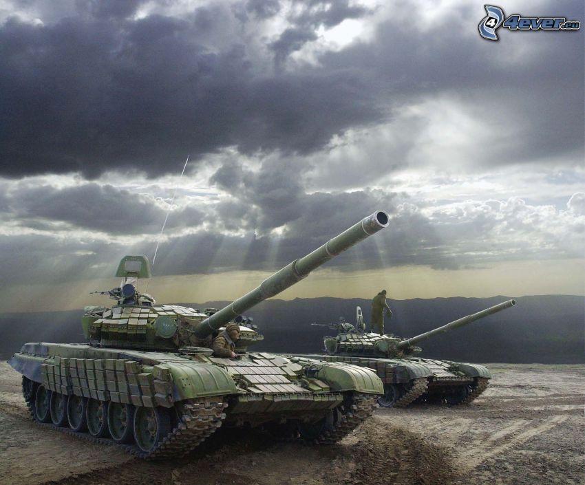 T-72, tanks, clouds