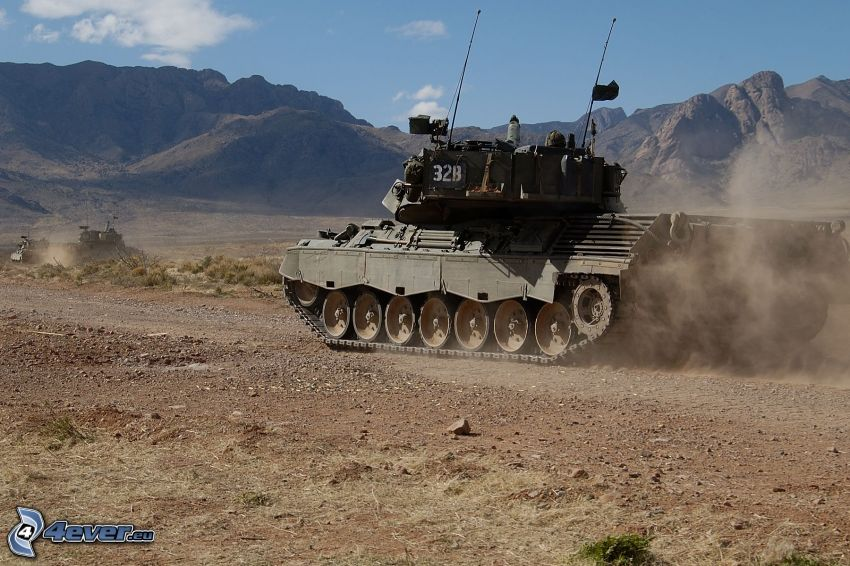 tank, desert, dust, Afganistan