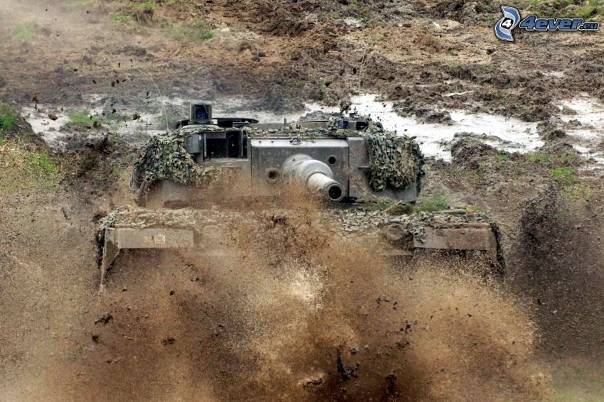 tank, dust, mud