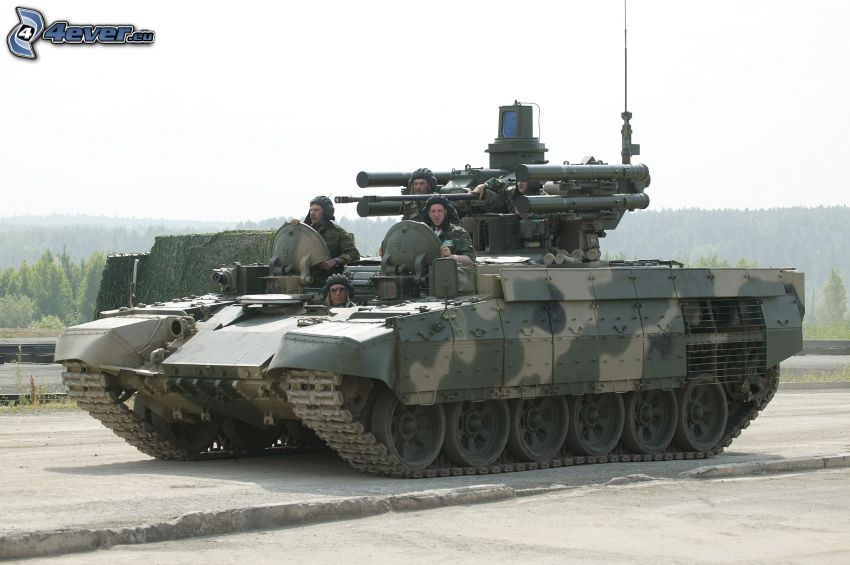 tank, soldiers