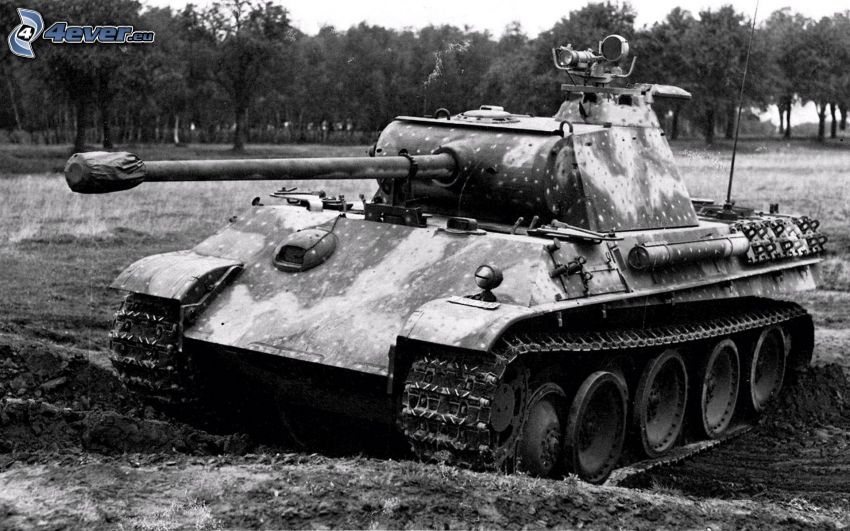 tank, Wehrmacht, black and white photo