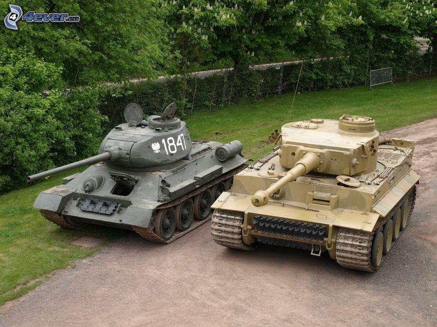 tanks, T-34, Tiger