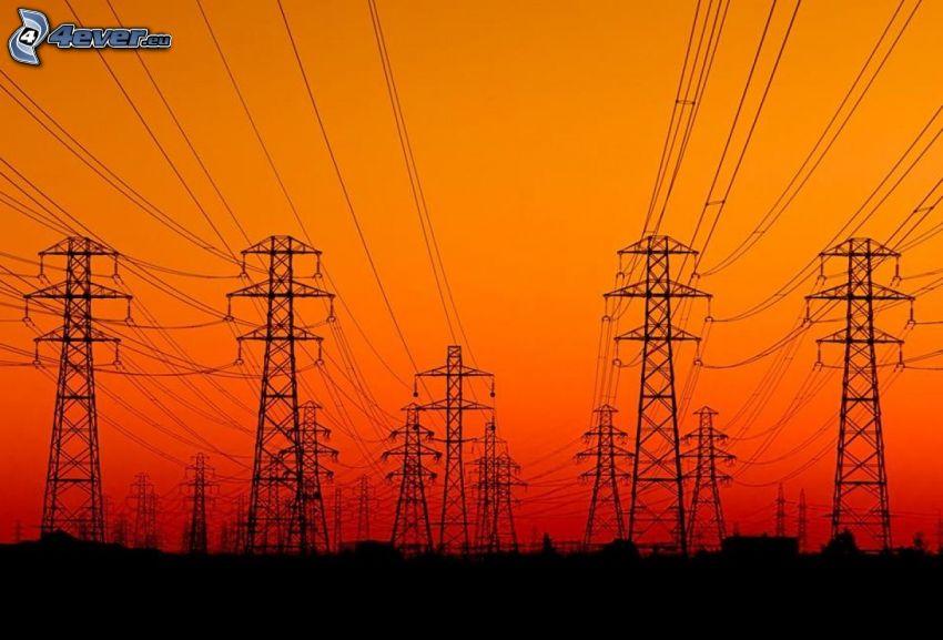 power lines, orange sky