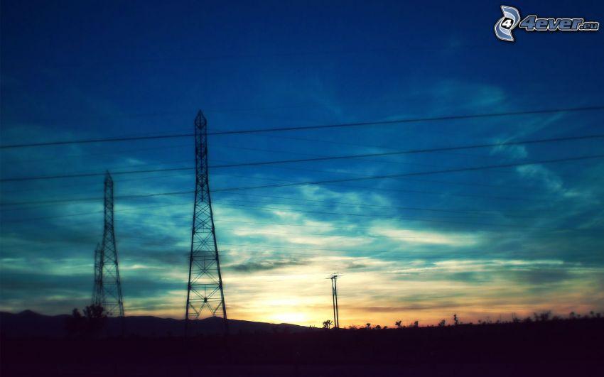 power lines, sky