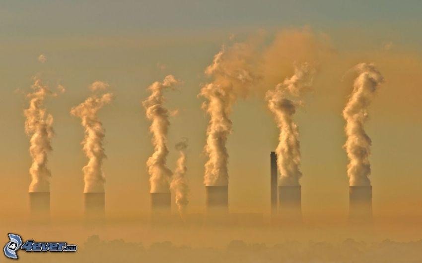 power plant, chimneys