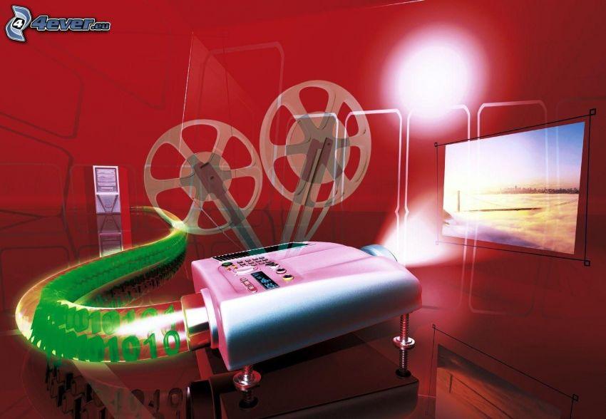 projector, binary code, cartoon